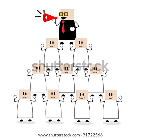 teamwork, high towers forming a triangle and provide information from it - stock vector