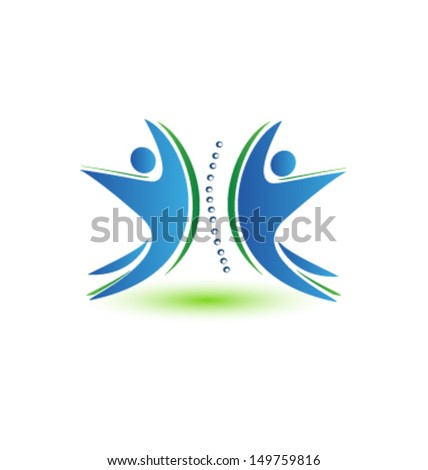 Teamwork human spine illustration . Can be used as a symbol for spinal problems, chiropractic, massage, exercise therapy, medical, spa, etc. - stock vector