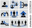Teamwork icons set. - stock photo