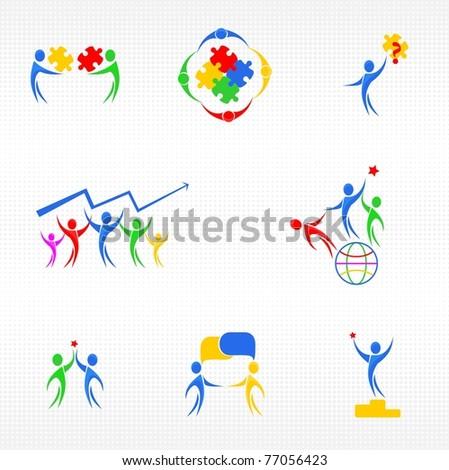 Teamwork icons set - stock vector