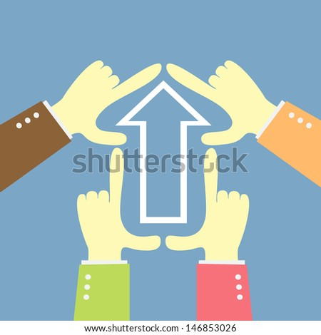 teamwork idea going arrow shape - stock vector