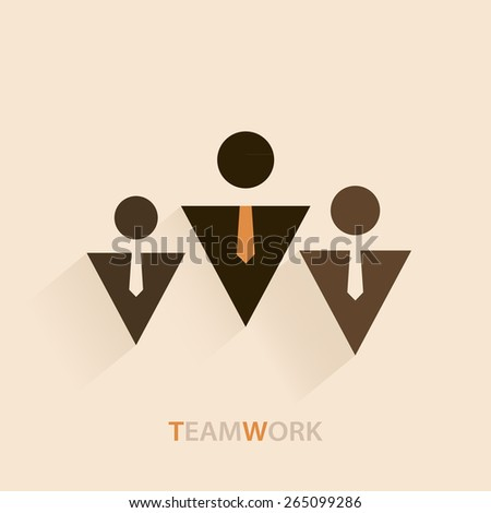 Teamwork illustration with three businessman icons with tie isolated on beige background art