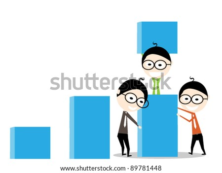 teamwork in forming business graphics - stock vector