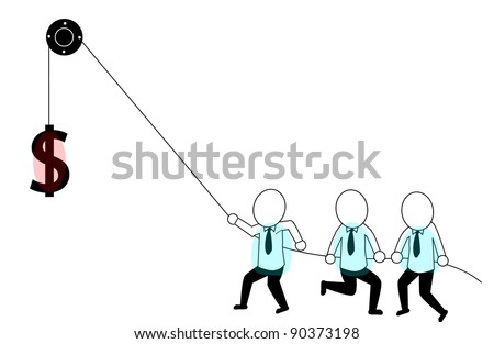 teamwork in order to attract top dollar - stock vector