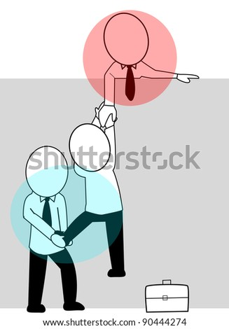 teamwork in striving to successfully ride - stock vector