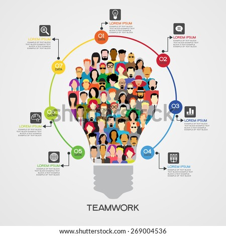 Teamwork infographics background. Icons of people in the form of a light bulb surrounded interface icons, text, numbers. File is saved in AI10 EPS version. This illustration contains a transparency  - stock vector