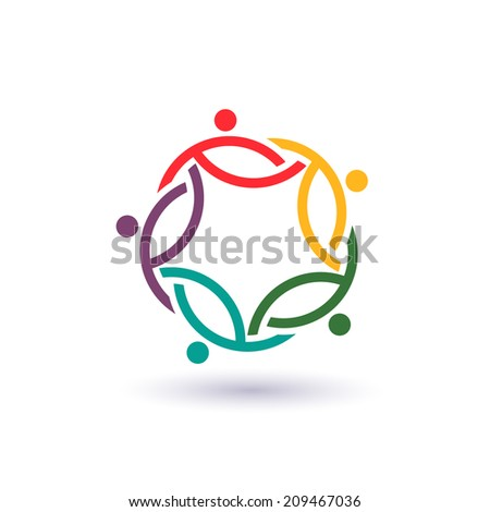 Teamwork 5 international circle .Concept group of connected people , helping each other.Vector icon - stock vector
