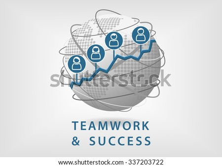 Teamwork leads to business success and growth concept. Vector illustration of globe with people symbols - stock vector