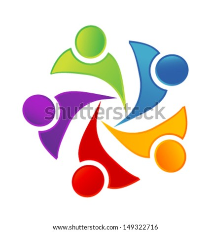 Teamwork networking people vector or People symbols working as team - stock vector
