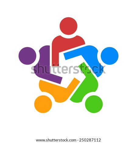 Teamwork of gear people. Concept of group of people collaboration and great work. - stock vector