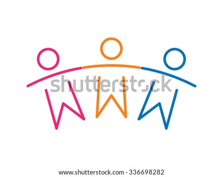 Teamwork People Children Friends Together Vector Icon - stock vector