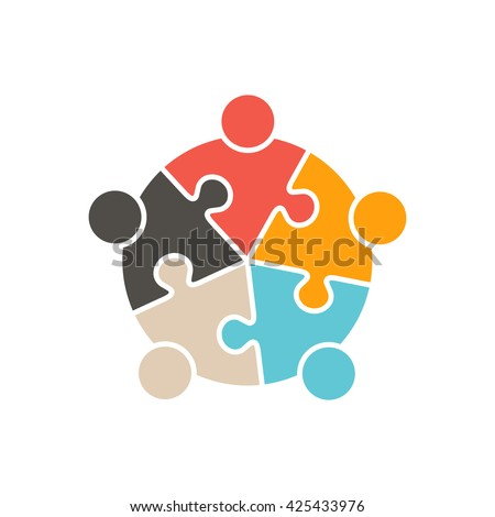 Teamwork People five puzzle pieces. Vector graphic design illustration - stock vector