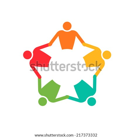 Teamwork People in circle 5. Holding hands. Vector icon - stock vector