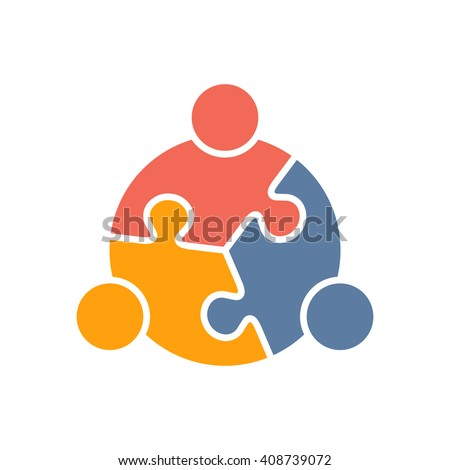 Teamwork People puzzle three pieces. Vector graphic design illustration - stock vector