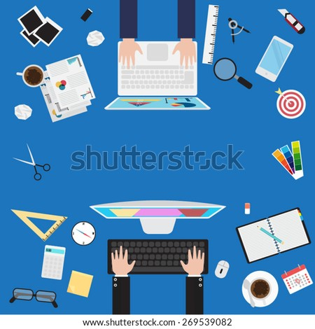 Teamwork process - stock vector