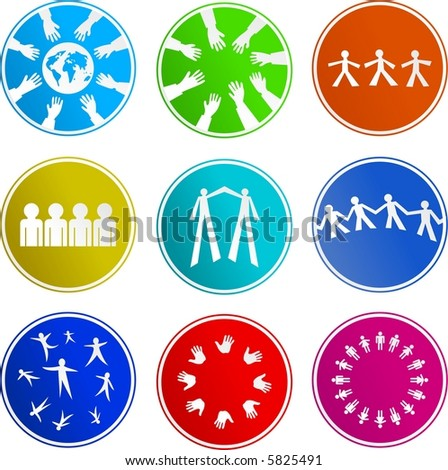 teamwork sign icons - stock vector