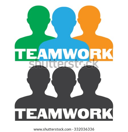 Teamwork Silhouettes Concept With Suggestive Text Over White Background / Teamwork Icon / Teamwork Concept / Teamwork  Icon Ai / Teamwork Icon Art / Teamwork Icon EPS - stock vector
