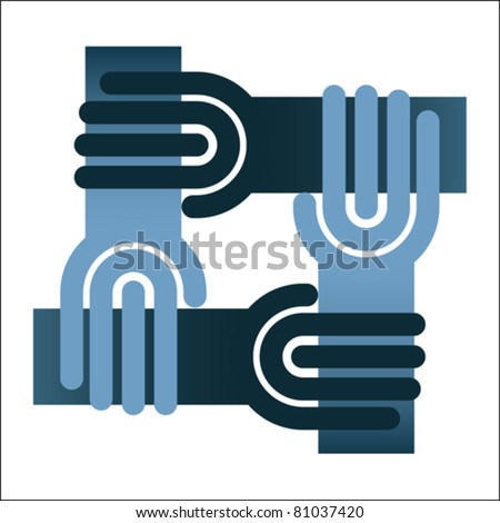 Teamwork symbol - circle of hands, chain isolated on white, vector