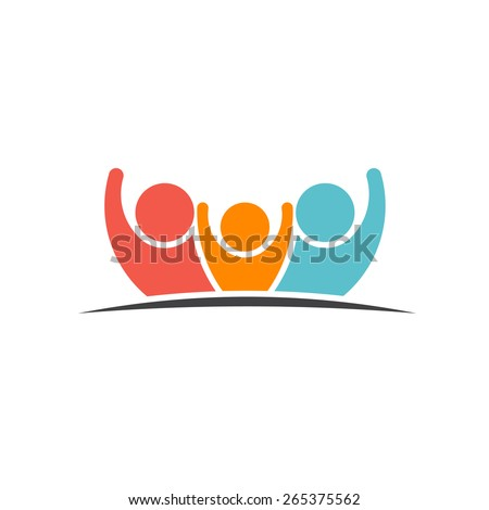 Teamwork Three Friends image. Concept of Group of People, happy team, victory - stock vector