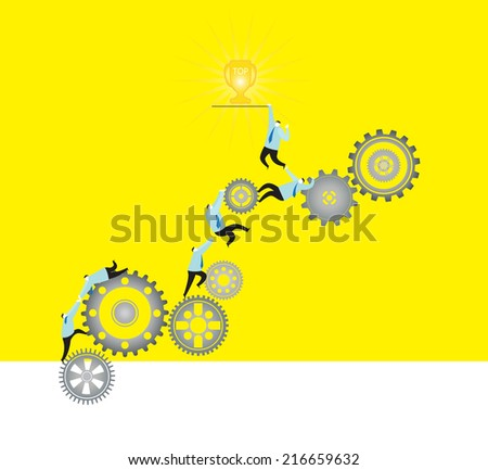 Teamwork : To be the top one team. - stock vector