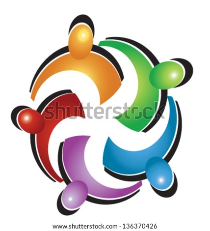 Teamwork union people icon vector - stock vector