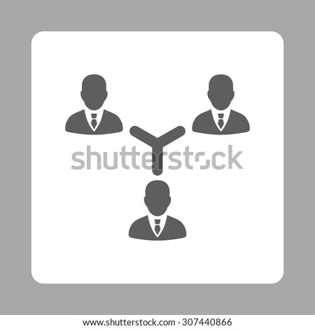 Teamwork vector icon. This flat rounded square button uses dark gray and white colors and isolated on a silver background. - stock vector
