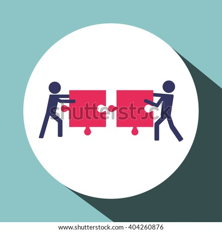 Teamwork with puzzle design, vector illustration
