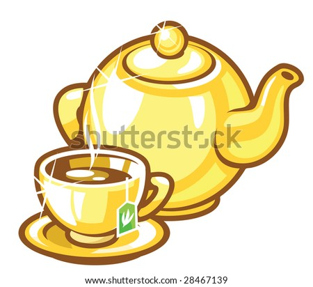 teapot and a teacup - stock vector