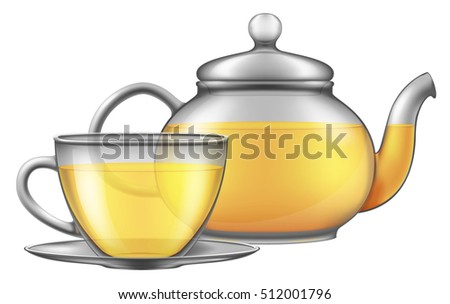 Teapot and cup of green tea. Vector illustration.