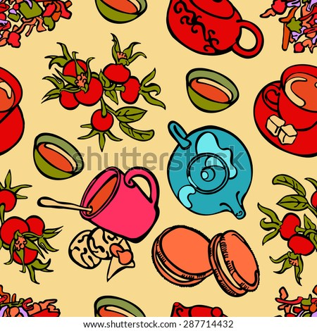 Teapot and cup of tea. Desserts and sweets. Vector seamless pattern (background).