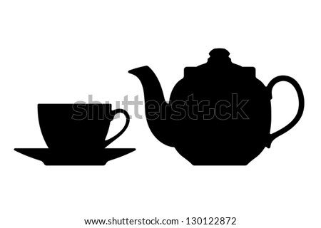 Teapot and cup. Vector silhouettes on a white background. - stock vector
