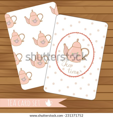 Teapot cards events, tea party, vector on wood background. Use for invitations.Place for text.  Teapot hand drawn pattern - stock vector