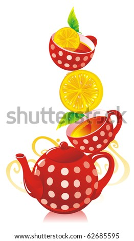 Teapot, cups with tea and a lemon - stock vector