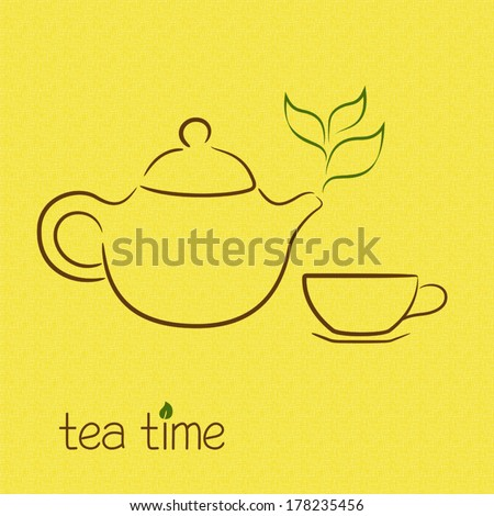 Teapot steaming in shape of tea leaves over burlap texture - stock vector