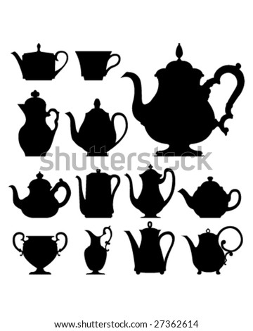 Teapots and cups - vector silhouette set - stock vector
