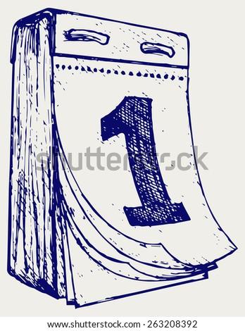 Tear-off calendar. Doodle style - stock vector