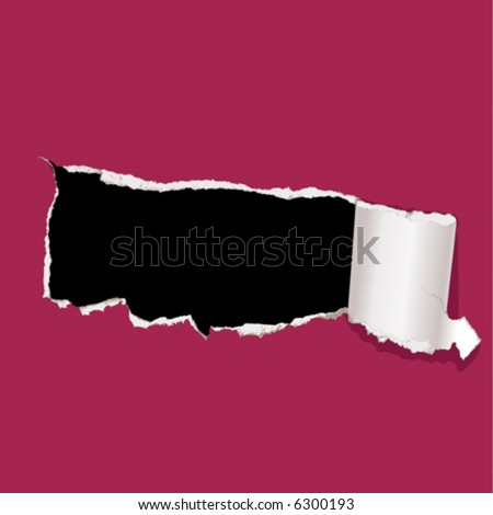 Tear paper. Hole. - stock vector