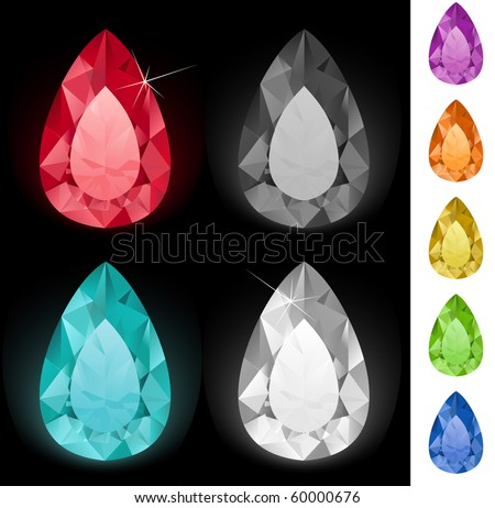 Tear-shaped gemstones collection - stock vector