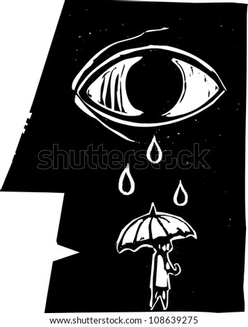 Tears from a profile of a face fall on an umbrella carrying person.