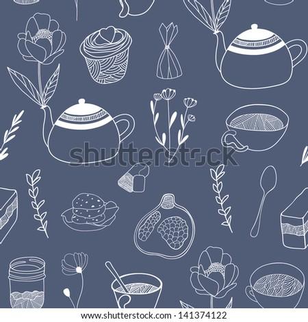 Teatime seamless pattern. Hand drawn vector illustration - stock vector
