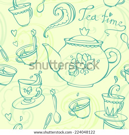 teatime seamless pattern with teapot and mugs - stock vector