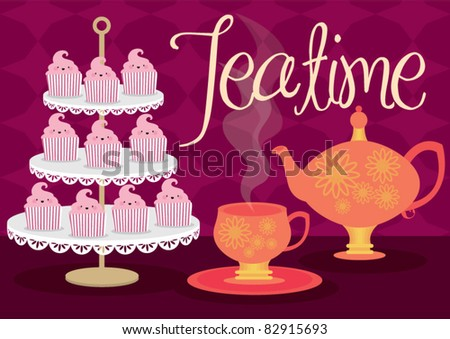teatime vector/illustration - stock vector