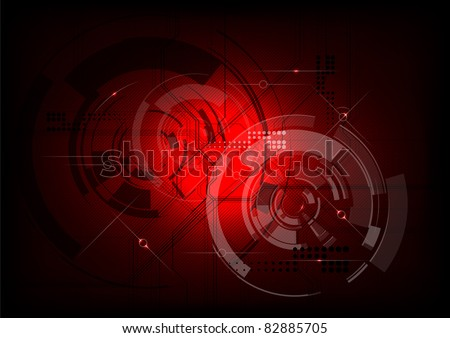 tech background in the red - stock vector