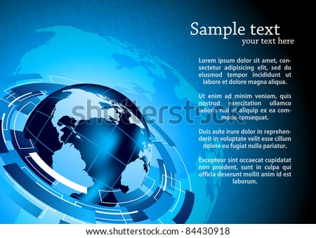 Tech background with globe - stock vector