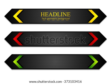 Tech corporate dark banners with bright arrows. Vector template design - stock vector