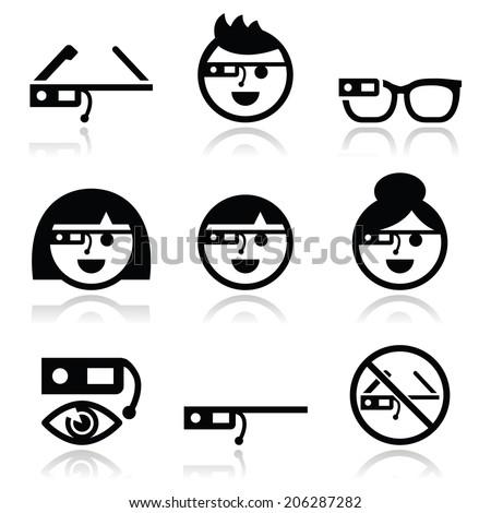 Tech glass vector icons set  - stock vector