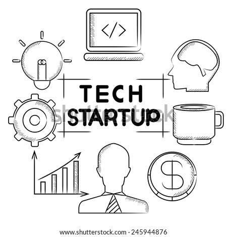 tech start up - stock vector