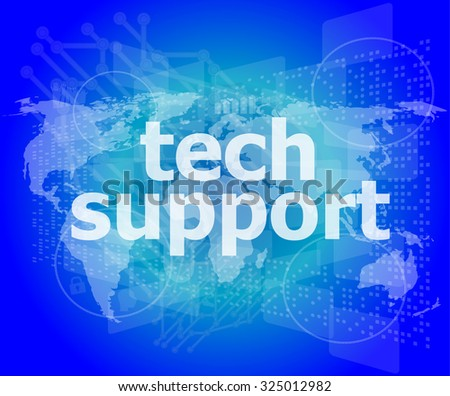 tech support text on digital touch screen - business concept vector illustration - stock vector