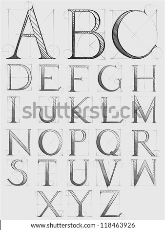 Technical alphabet  - detailed, hand drawn illustration in a vintage style - stock vector