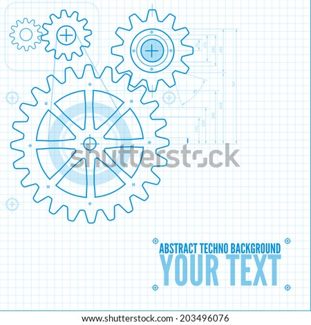 Technical blueprint template illustration on white vector background with cogs - stock vector
